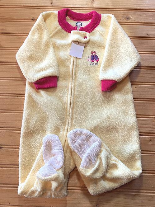 Size 12m Yellow Fleece Footie PJ, Used
