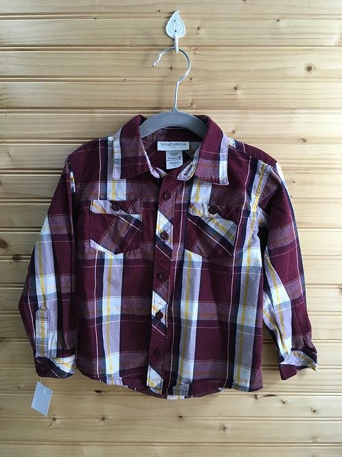 Size 3T Kids TOUGHSKINS Maroon Plaid Long-Sleeve Shirt