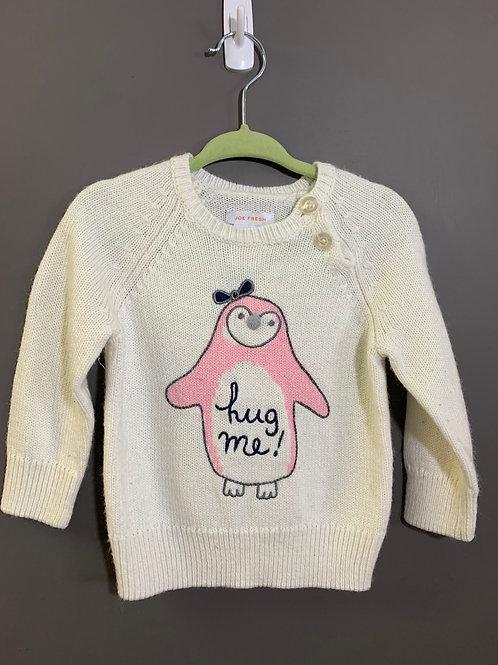Size 12-18m JOE FRESH Pink Hug Me Penguin on White Knit Sweater