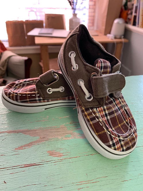 Size 7 Toddler COCO JUMBO Brown Plaid Boat Shoes