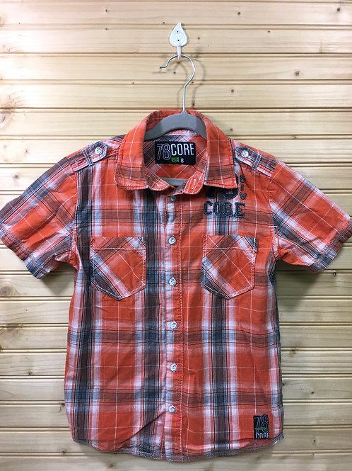 Size 8 Boys 78 CORE Orange Plaid Short-Sleeve Shirt