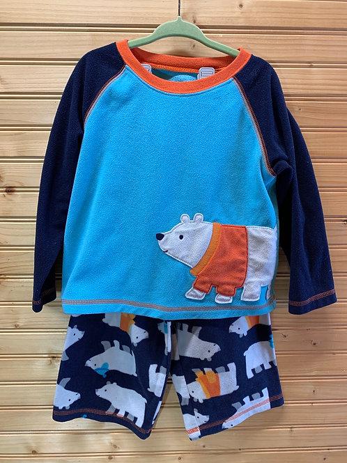 Size 3T CARTERS Fleece Polar Bear 2pc PJ, Used