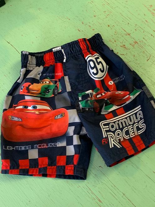 Size 12m DISNEY Cars Formula Racers Swim Trunks, Used