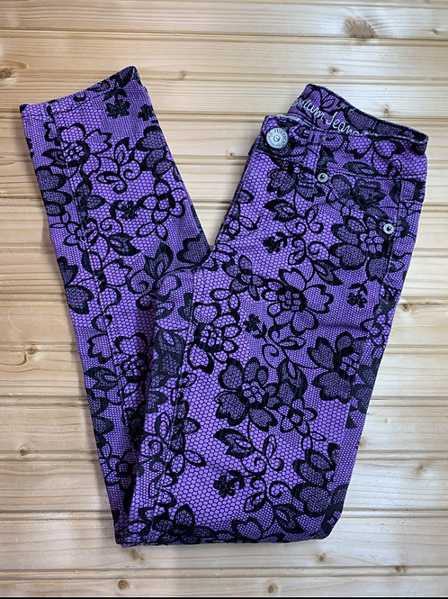 Size 8 JUSTICE Purple and Black Pants