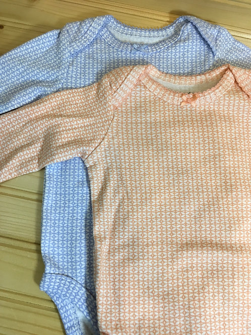 Size 3m CARTER'S Long Sleeve Onesie Set in Orange and Blue