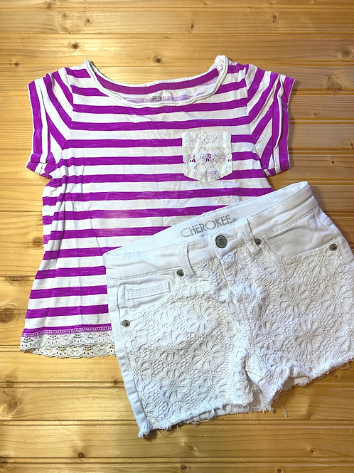 Size S CHEROKEE Purple and White Summer Outfit, Used