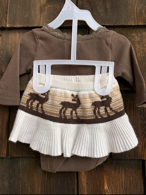 Size 0-3m BABY GAP Brown Moose Skirt Set