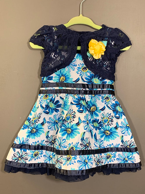 Size 12m Blue and Yellow 3pc Floral Dress, Used