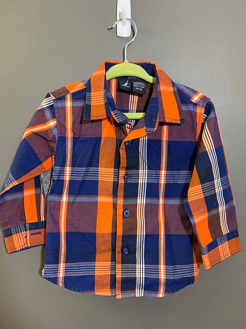 Size 12/18m NAUTICA Orange and Blue Plaid Long Sleeve Shirt