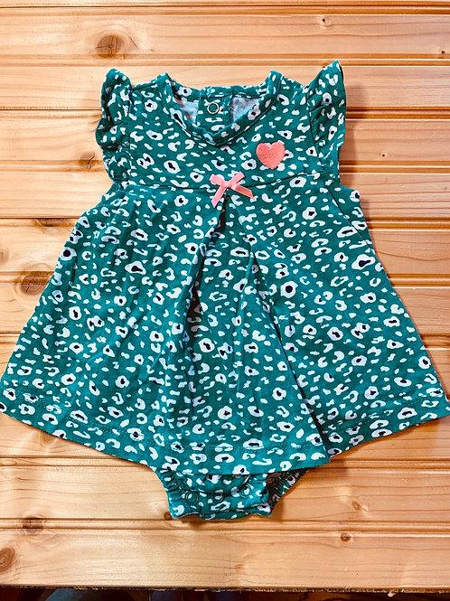 Size 0-3m Teal Leopard Dress