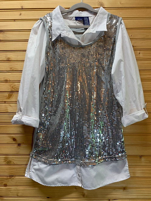 Size 14/16 Youth Silver Sequins Shirt