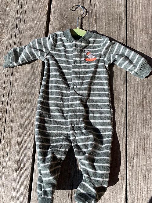 Size NB CARTER'S Grey Stripe Fleece Puppy PJ, Used