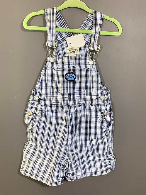Size 12m CHILDREN'S PLACE Blue Plaid Overall Shorts, Used