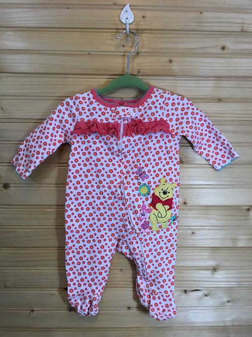 Size 0-3m DISNEY Orange and Pink Flower Winnie the Pooh Pajama