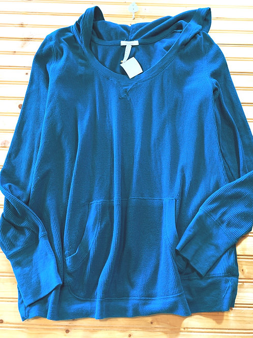 Size XL Maternity Teal Blue Jersey Knit Hoodie Shirt
