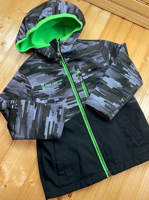 Size 4T FREE COUNTRY Grey Black and Green Hoodie