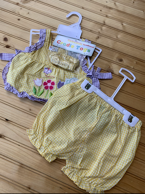 Size 6-9m Yellow Gingham 3pc Outfit