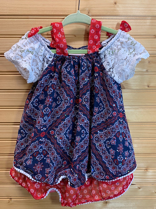 Size 3T Sparkly Peasant Patriotic Shirt, Used