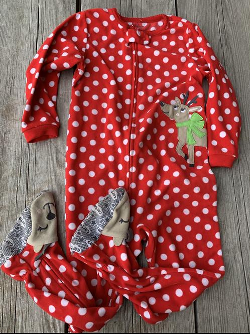 Size 4T CARTER'S Red Reindeer Fleece Footie PJ