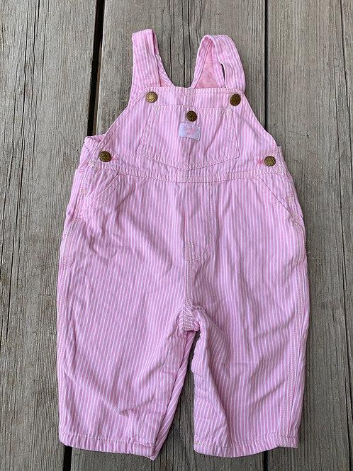 Size 6-9m OSHKOSH Pink Stripe Overalls