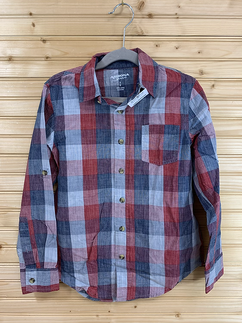 Size 8 Blue, Grey and Red Plaid Shirt, Used