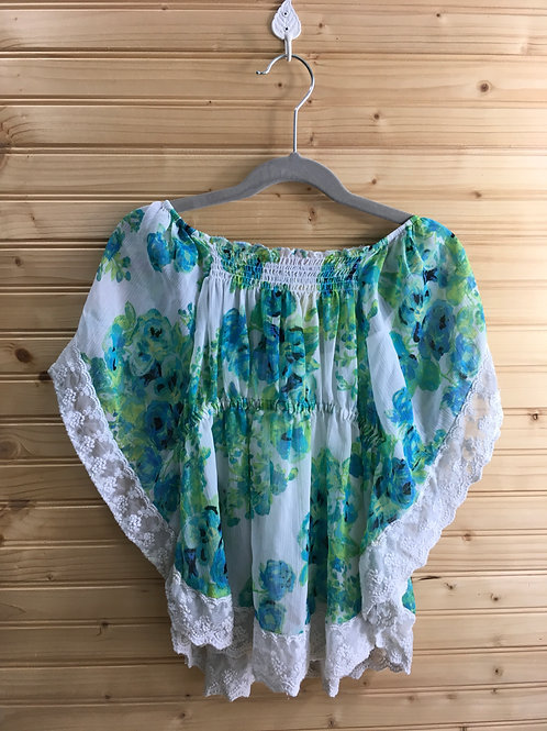 Size 7/8 Girls CANDIES Flowy Floral Blue Green and Lace Layered Top