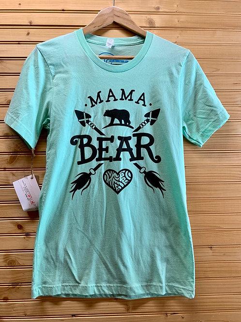 Size Small Women's Mint Green Mama Bear Shirt