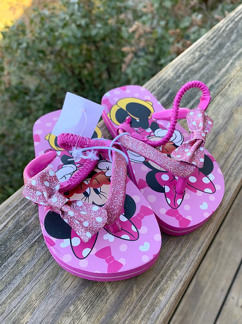 Size 5/6 Toddler Sparkling Minnie Mouse Flip Flops