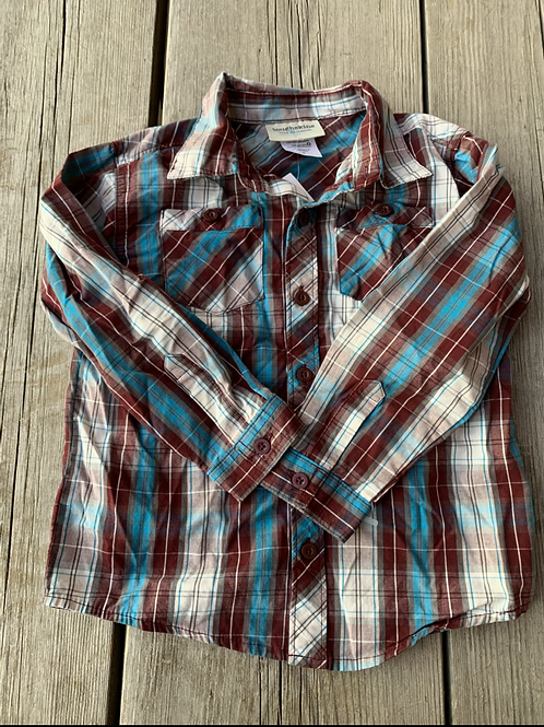Size 4T TOUGHSKINS Brown and Blue Plaid Shirt