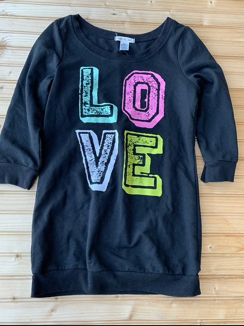 Size S (about a Y10) Long Black LOVE Sweater