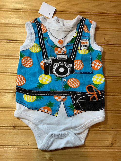 Size 6-9m BUSTER BROWN Tourist Onesie, Used