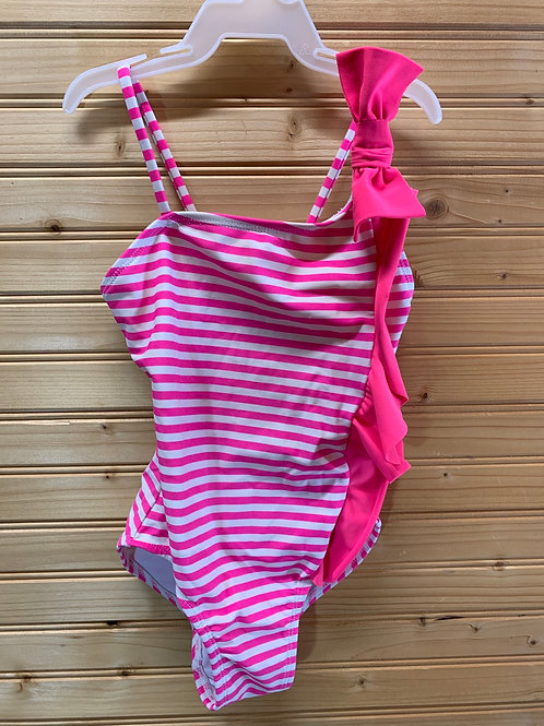 Size 4/5 Girls Pink and White Striped Swimsuit, Used