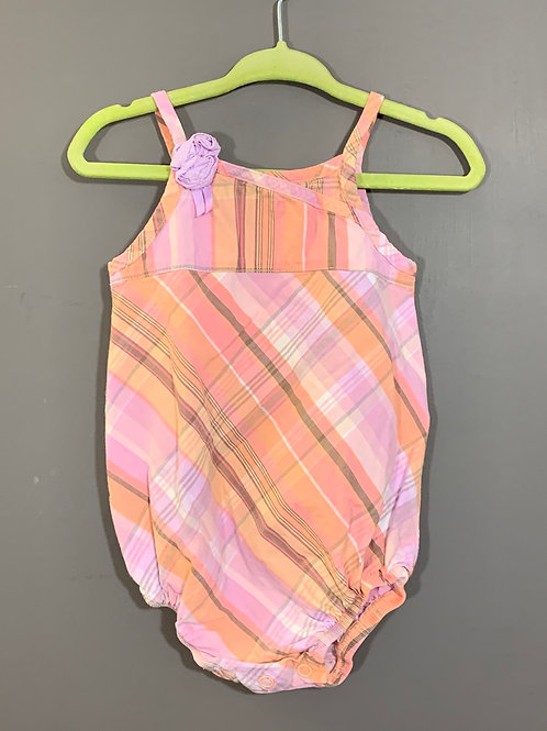 Size 12m CARTER'S Pastel Pink Plaid Summer Jumper, Used