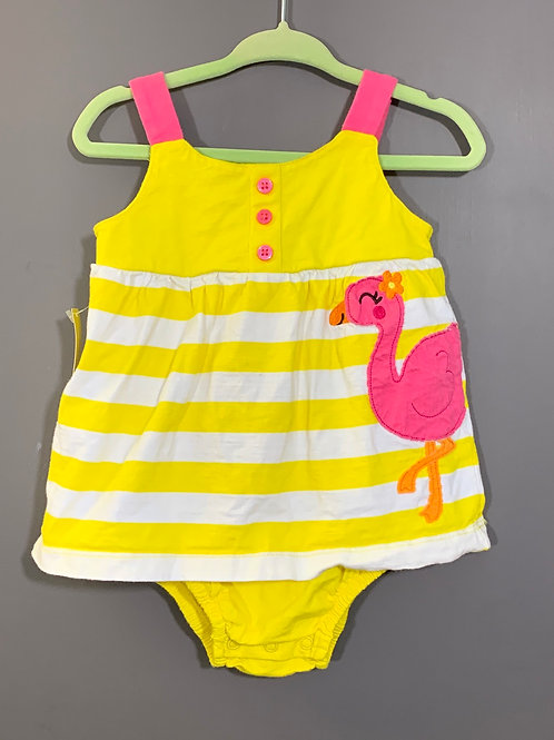Size 12m CARTER's Yellow and Pink Flamingo Dress, Used