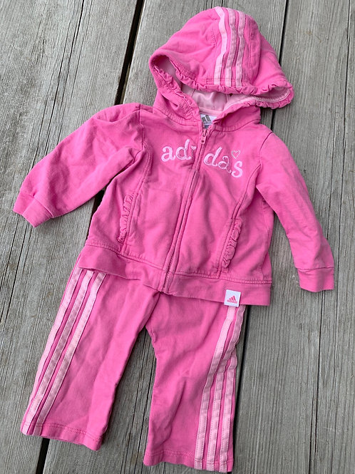 Size 9m ADIDAS Pink Cotton Track Suit