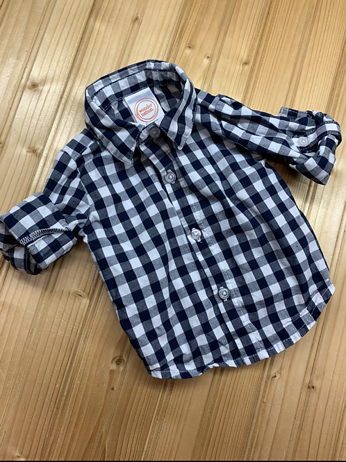 Size 0-3m Black and White Check Shirt