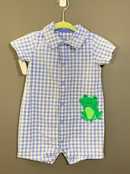 Size 12m JUST ONE YOU Blue Gingham Frog Jumper, Used