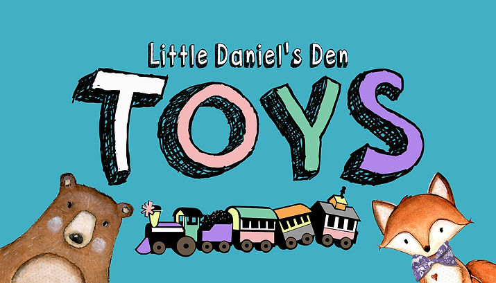 Graphic of Little Daniel's Den Toys with a bear, a fox and a train.