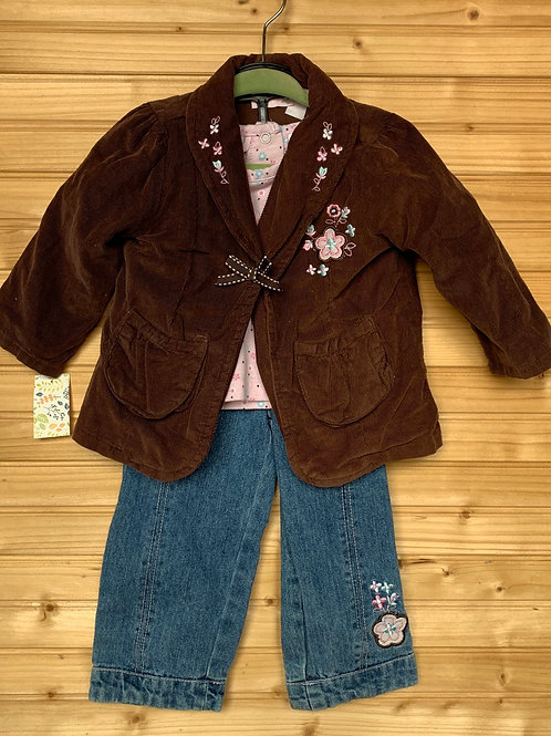 Size 18m Brown and Pink 3pc Jean Outfit, Used