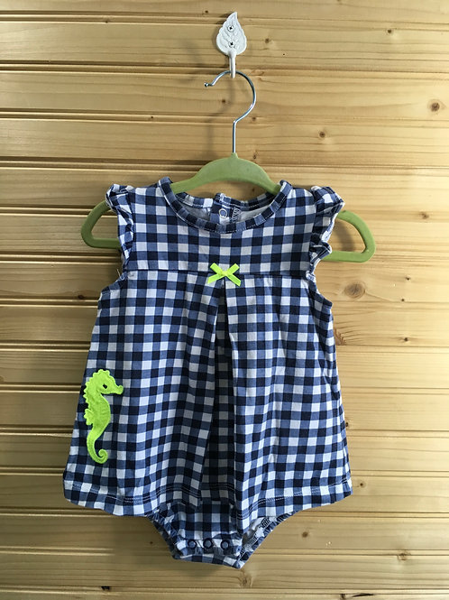 Size 12m CHILD OF MINE Blue Check Dress with Green Seahorse
