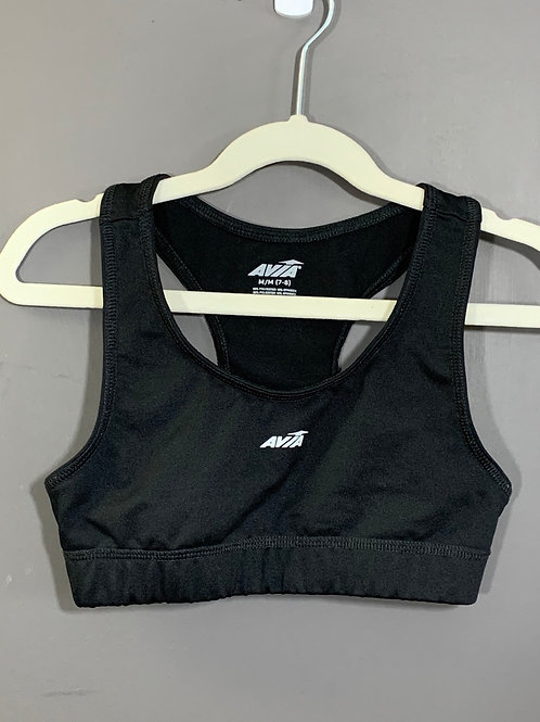 Size 7/8 Kids AVIA Black Sports Bra, Used