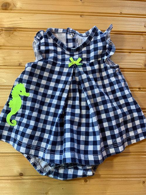 Size 0-3m Blue Checker Seahorse Dress
