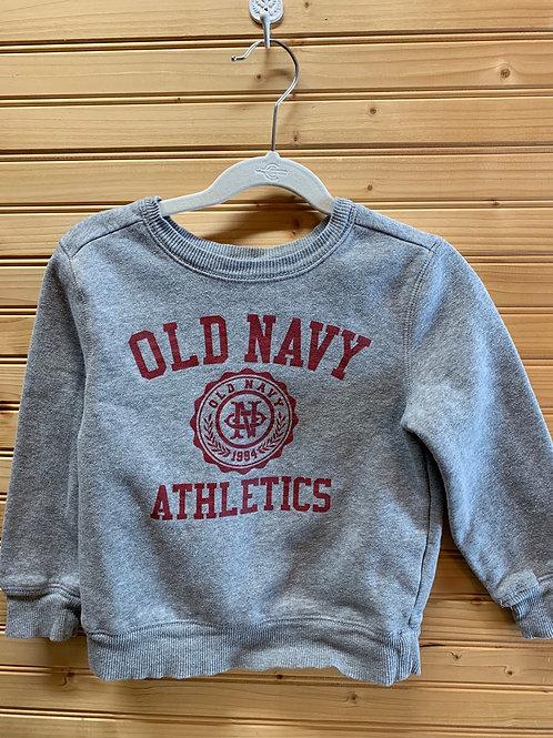 Size 5T OLD NAVY Grey Logo Sweatshirt, Used
