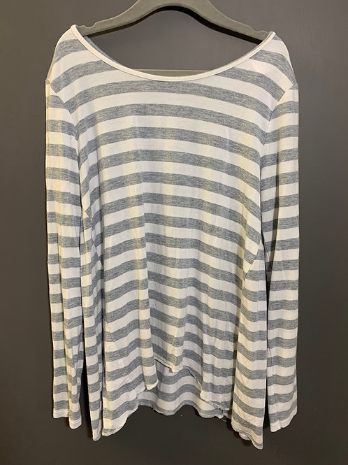 Size 8 Youth GAP Loose Grey and White Striped Top