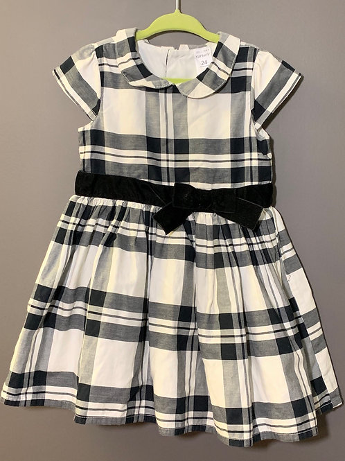 Size 24m CARTER'S Plaid Dress in Black, Grey and White
