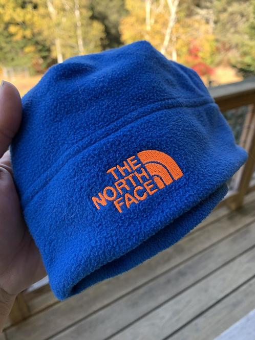 Large Infant Size NORTH FACE Blue Fleece Hat, Used