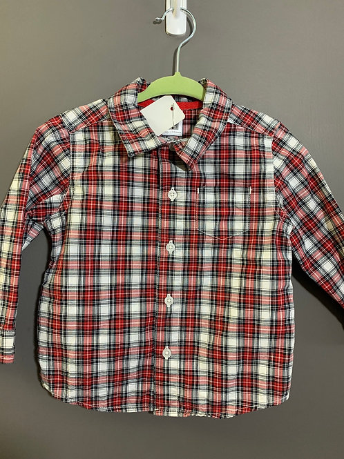 Size 18m CARTER'S Red Plaid Long Sleeve Shirt