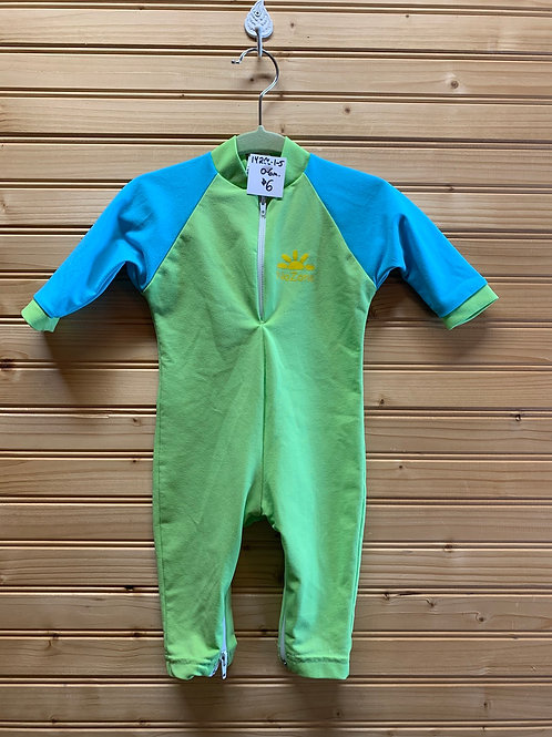 Size 0-6m NO ZONE Blue and Green Rash Guard Swimsuit, Used