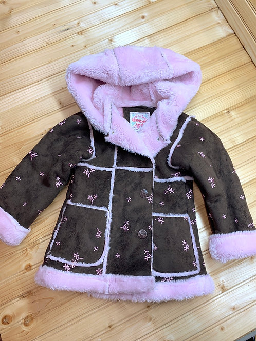 Size 3T OSHKOSH Brown Suede and Pink Coat
