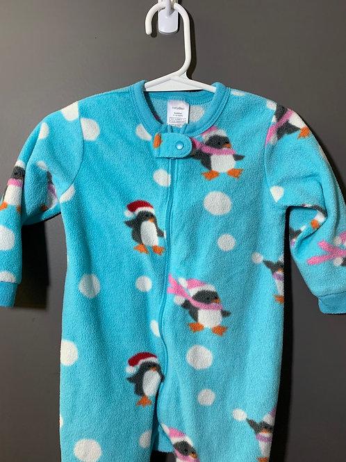 Size 12-18m BABY GAP Blue Fleece Footie Pajama with Penguins